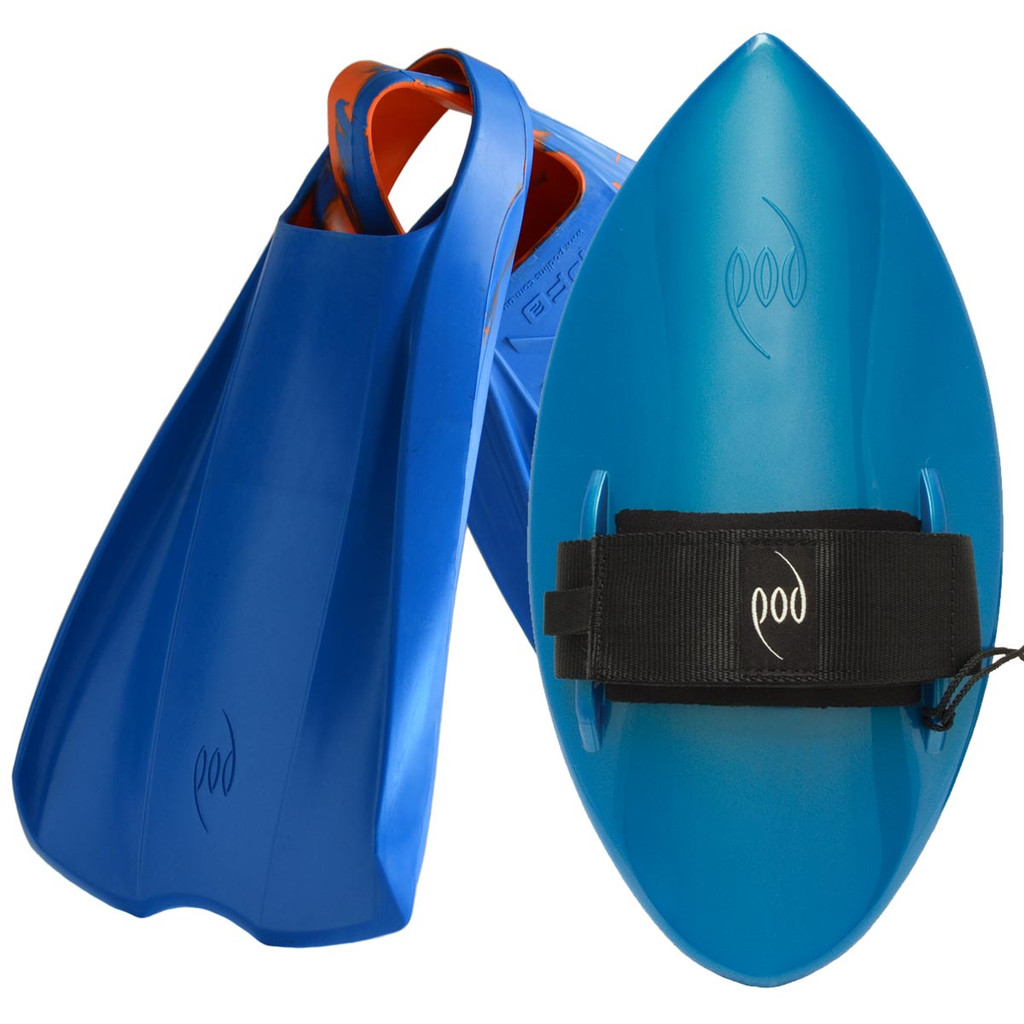 POD Fins PF2s Blue/Orange - Aqua Blue POD Handboard