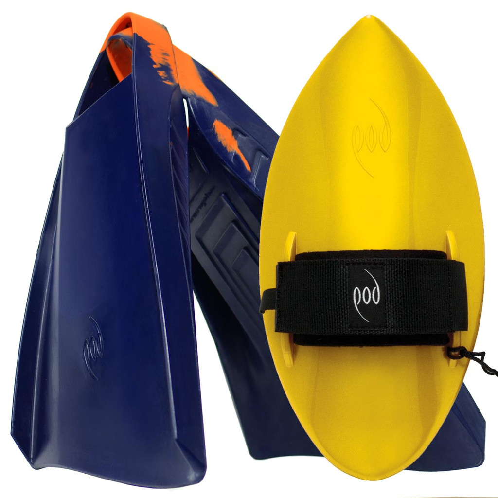 POD Fins PF3s Navy/Orange - Yellow POD Handboard