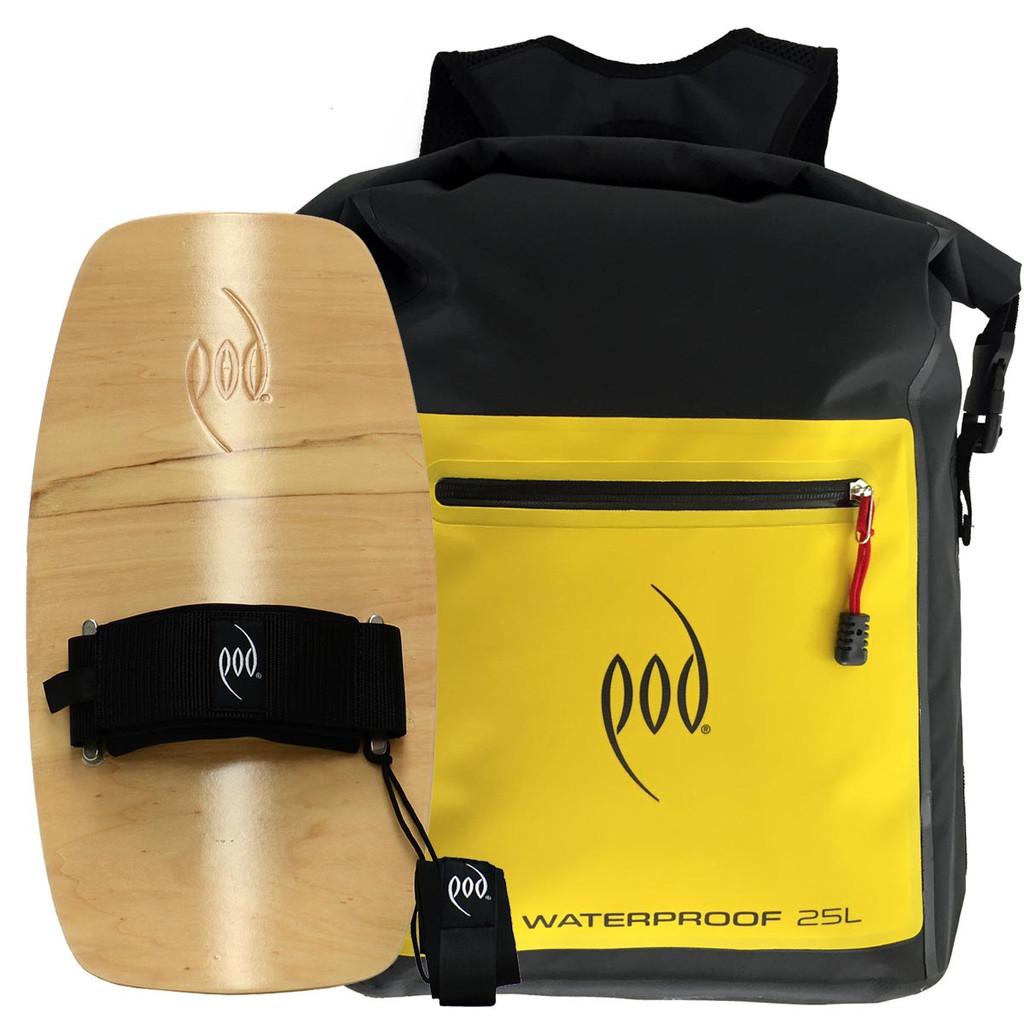 Waterproof Backpack 25 L - POD Wood Bodysurfing Handboard