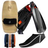 Bodysurfing Gear - Wood Handboard POD Fins PF2s Socks Savers