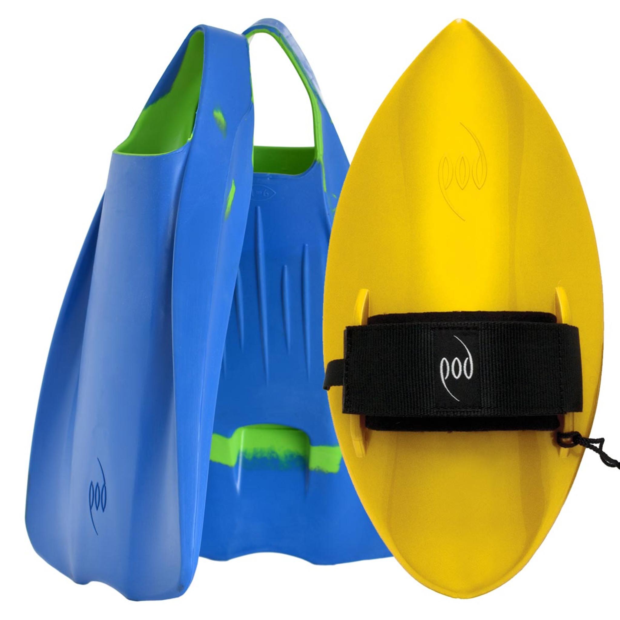 POD Fins PF1s Blue/Lime - Yellow POD Handboard