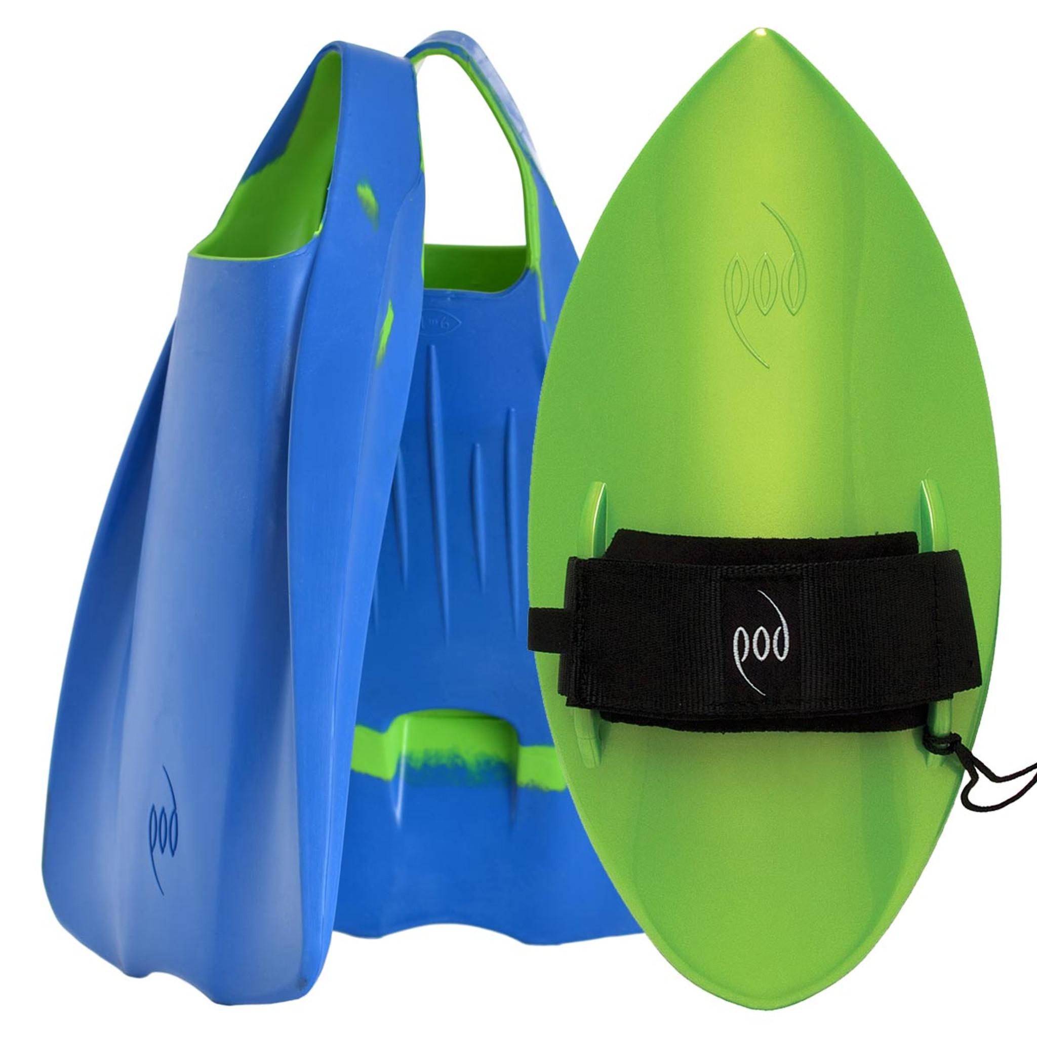 POD Fins PF1s Blue/Lime - Lime POD Handboard