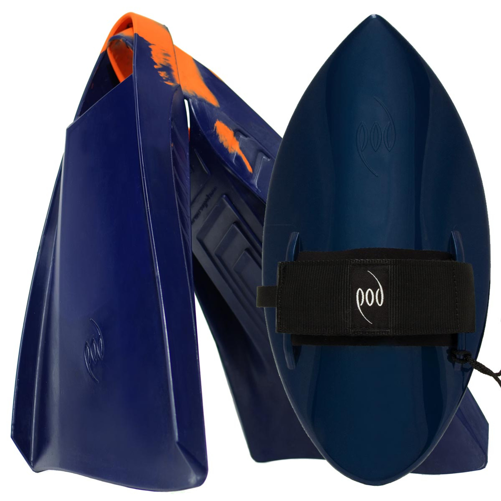 POD Fins PF3s Navy/Orange - Black/Blue POD Handboard