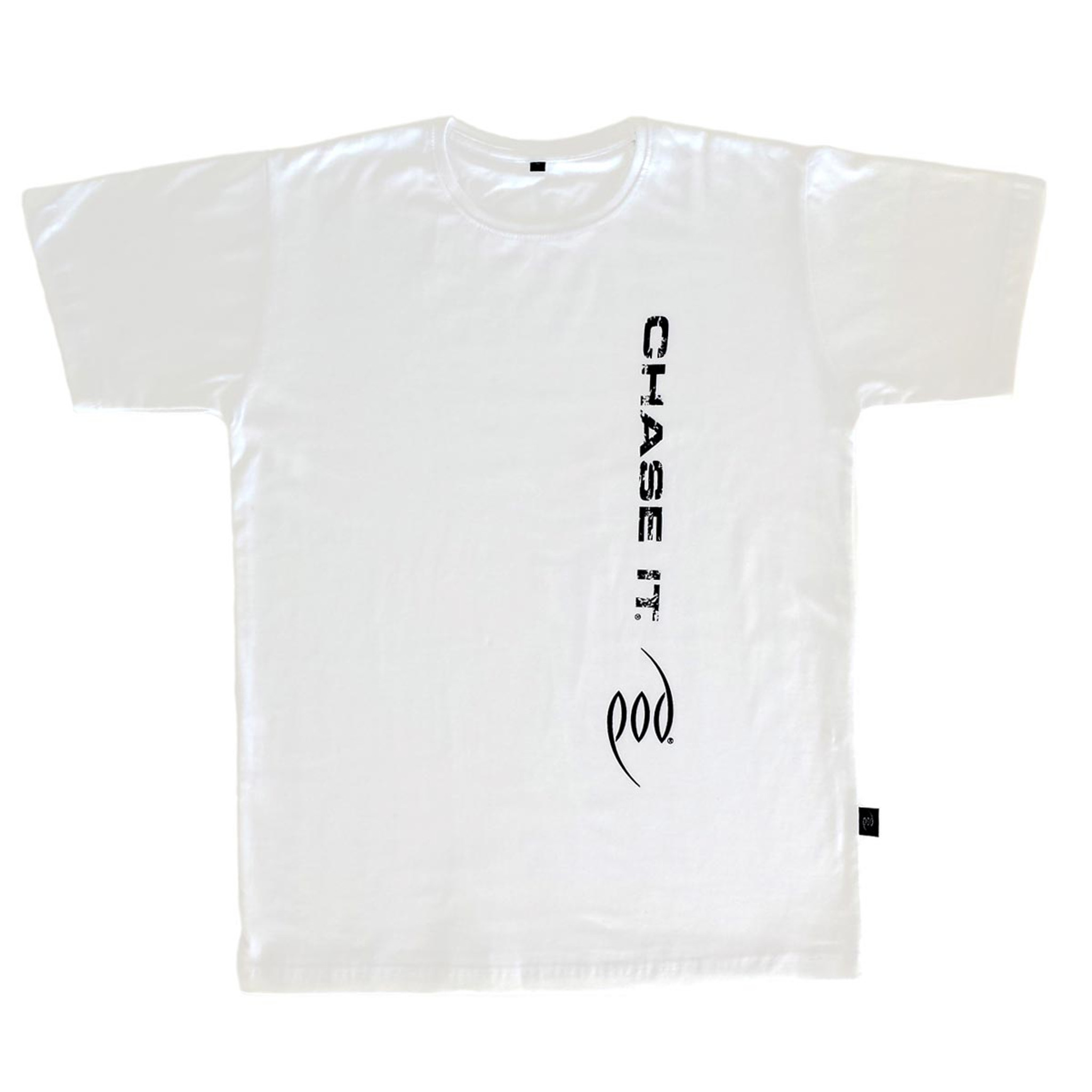 White with black print
