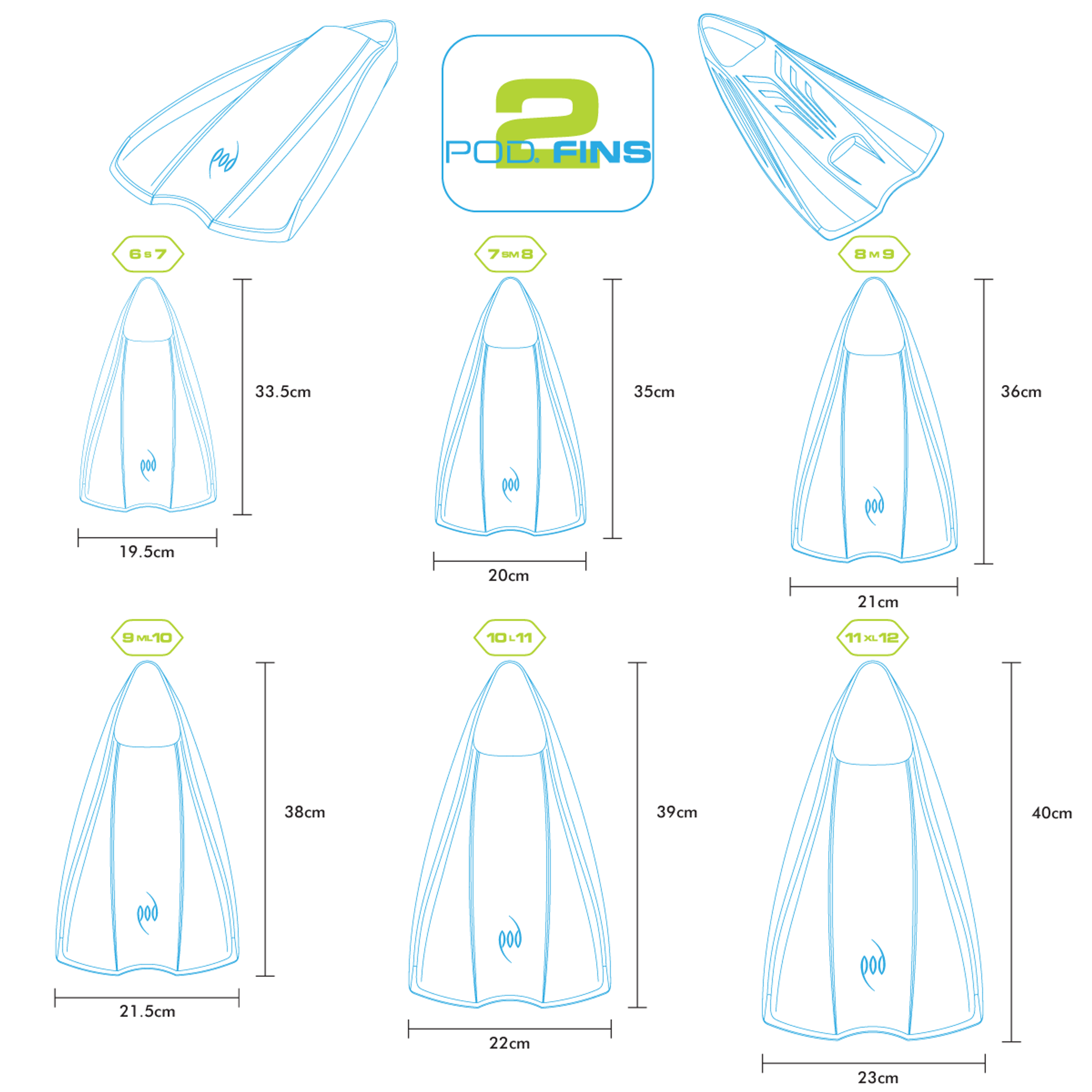 PF2 Swim Fins - Limited Colour - Bodysurfing - Bodyboarding
