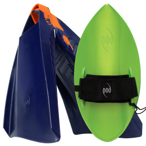 POD Fins PF3s Navy/Orange - Lime POD Handboard