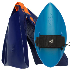 POD Fins PF3s Navy/Orange - Aqua Blue POD Handboard