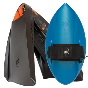 POD Fins PF3s Black/Orange - Aqua Blue POD Handboard