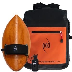 Waterproof Backpack - Handcrafted Wood Bodysurfing Handboard