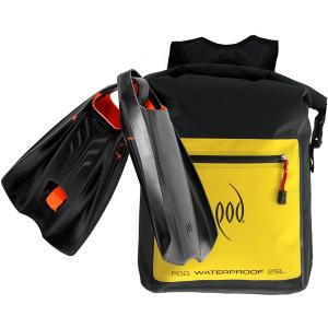 Waterproof Backpack 25 Litres - POD Fins PF2  - Swim Fins