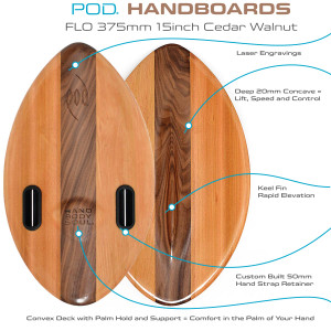 FLO 375mm 15inch Wood POD Handboards -  Bodysurfing Handplane