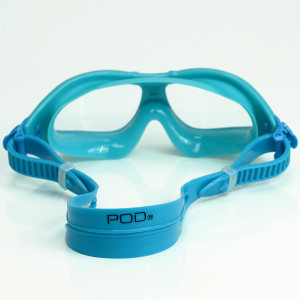 POD VISION Youth Swim Mask - Clear Lens Aqua Blue Frame
