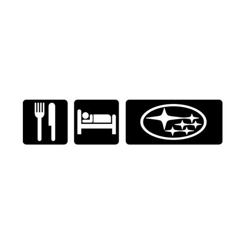 Eat Sleep Subie Sticker - Vinyl (Black)