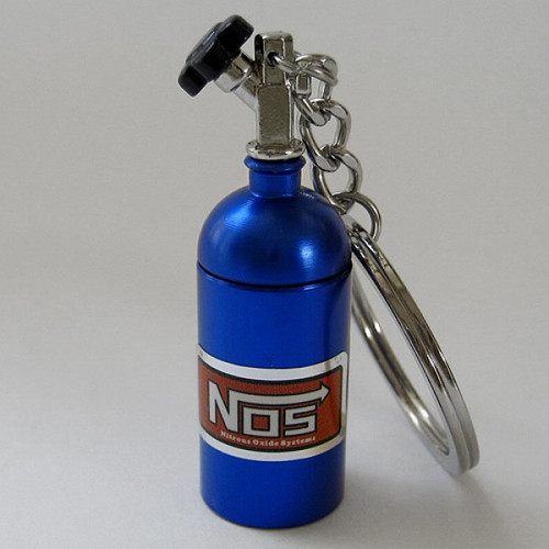 Blue NOS Bottle Keychain