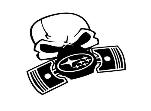 Subaru Gas Mask Skull Black Vinyl Color Sticker