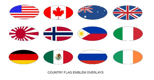 Country Flag Front & Rear Emblem Overlays