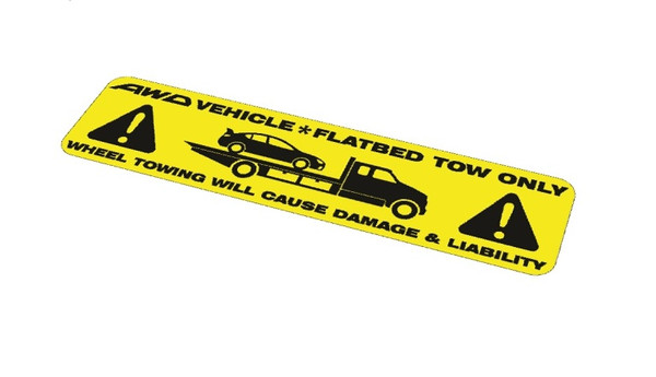Flatbed Tow Only Sticker Decal - Yellow & Black