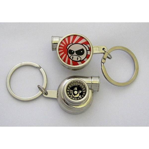 JDM Angry Rally Pig Spinning Turbo Keychain