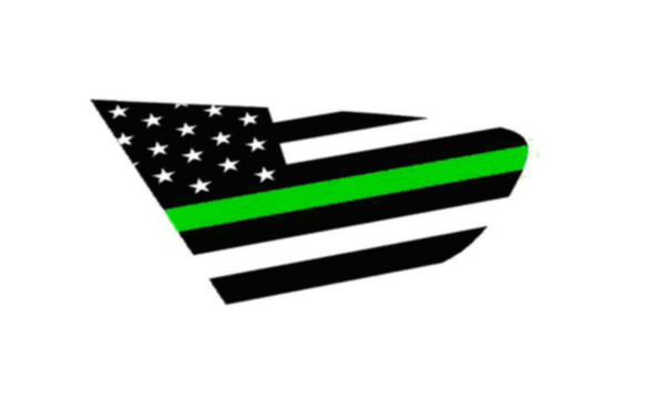 18+ XV Crosstrek Thin Green Line Flag Rear Side Window Decal Stickers