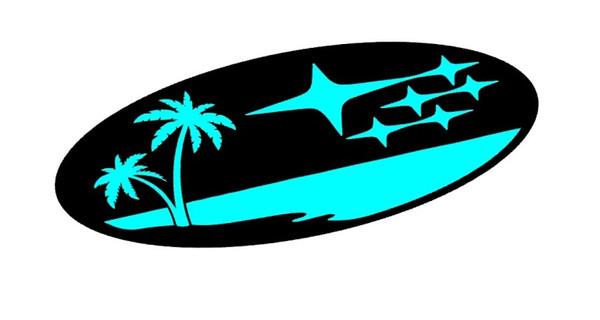 Star Cluster Palm Tree Beach Emblem Overlay