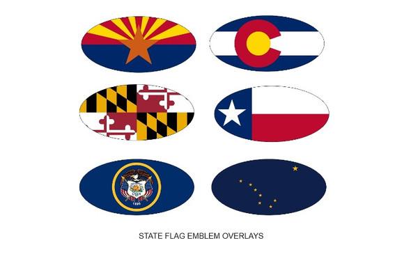 State Flag Emblem Overlays: Arizona, Colorado, Maryland, Texas, Utah, Alaska