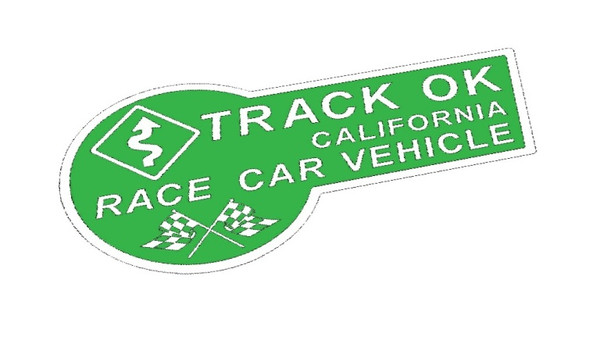 Green & White Track OK Sticker Decal