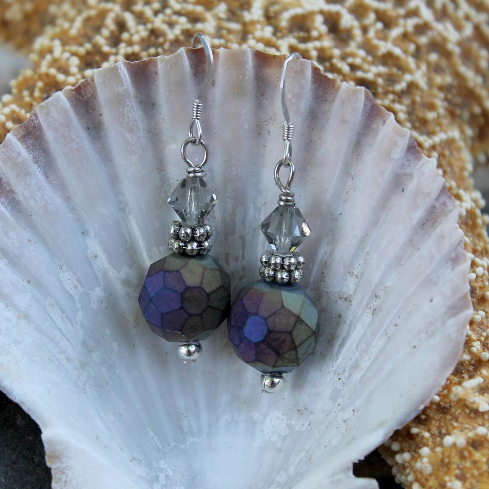 Purple-Gray Iris Earrings