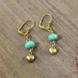 Hanging Brass Heart Earrings