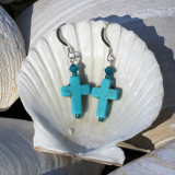 Turquoise Howlite Cross Earrings