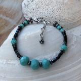 Turquoise and Black Crystal Bracelet