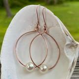 Copper Pearl Hoop Earrings