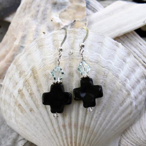 Black Onyx Cross Earrings