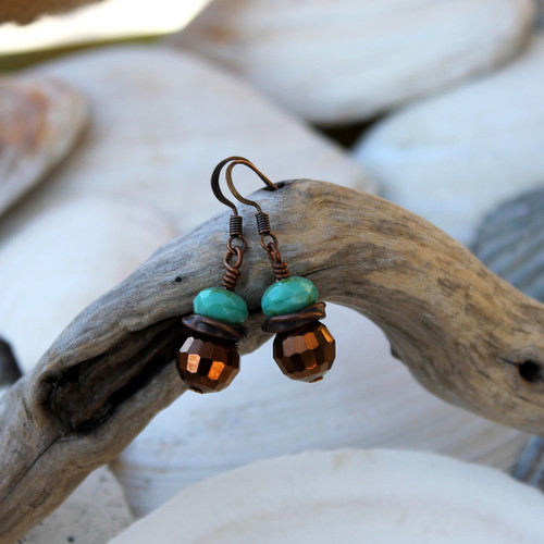 Green Copper Twist Earrings