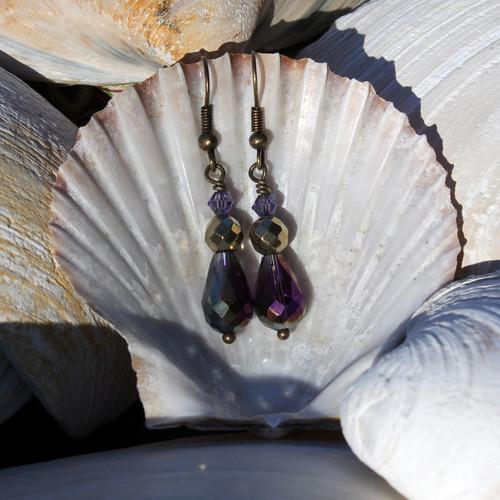 Amethyst and Brass Teardrop Earrings