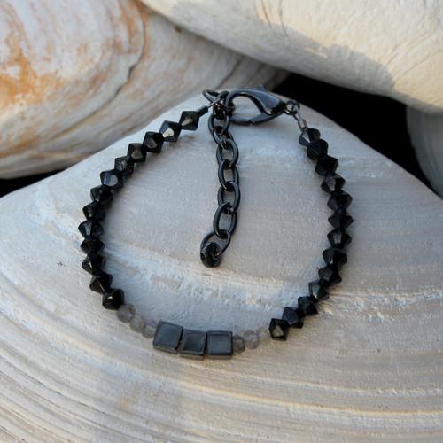 Hematite & Labradorite Black Crystal Bracelet