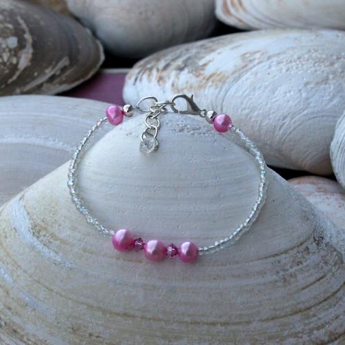 Pink Pearl & Crystal Bracelet