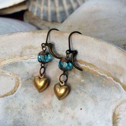 Cathedral Brass Heart Earrings