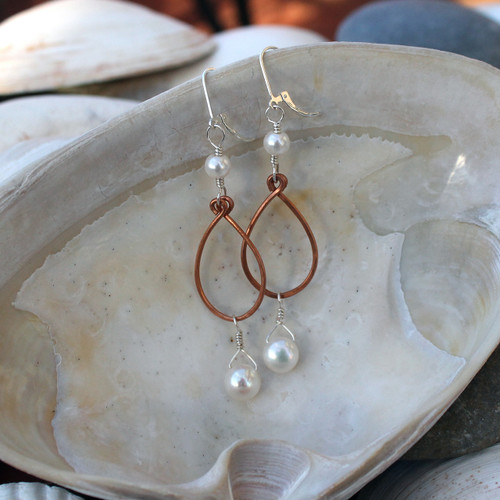 Mixed Metal Pearl Drops Earrings