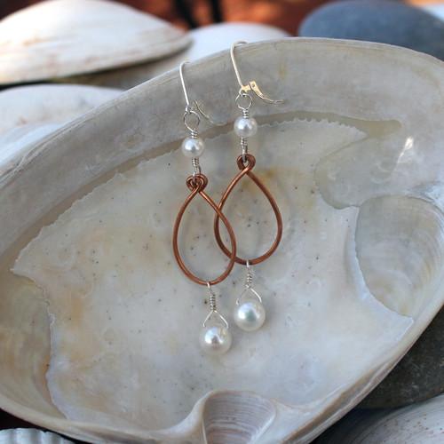 Mixed Metal Pearl Drops Earrings