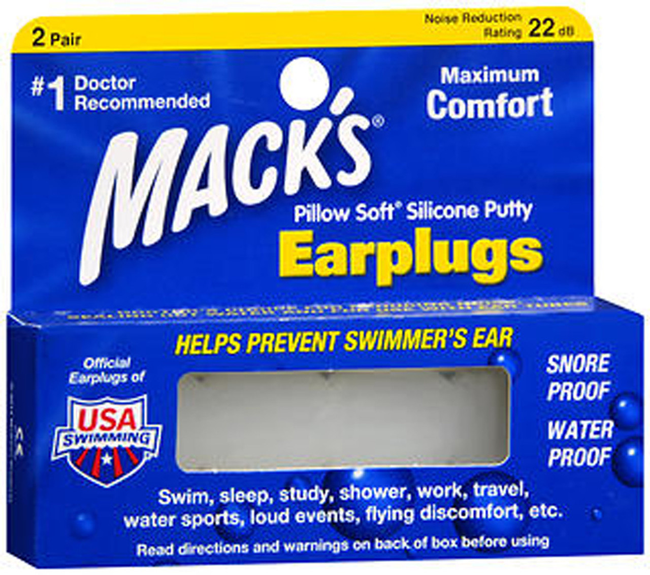 Pack of 2 Pairs Macks Pillow Soft Silicone Putty Ear Plugs