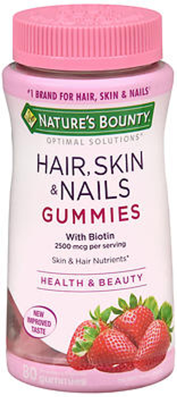Nature S Bounty Optimal Solutions Hair Skin Nails With Biotin Strawberry Flavored 80 Gummies