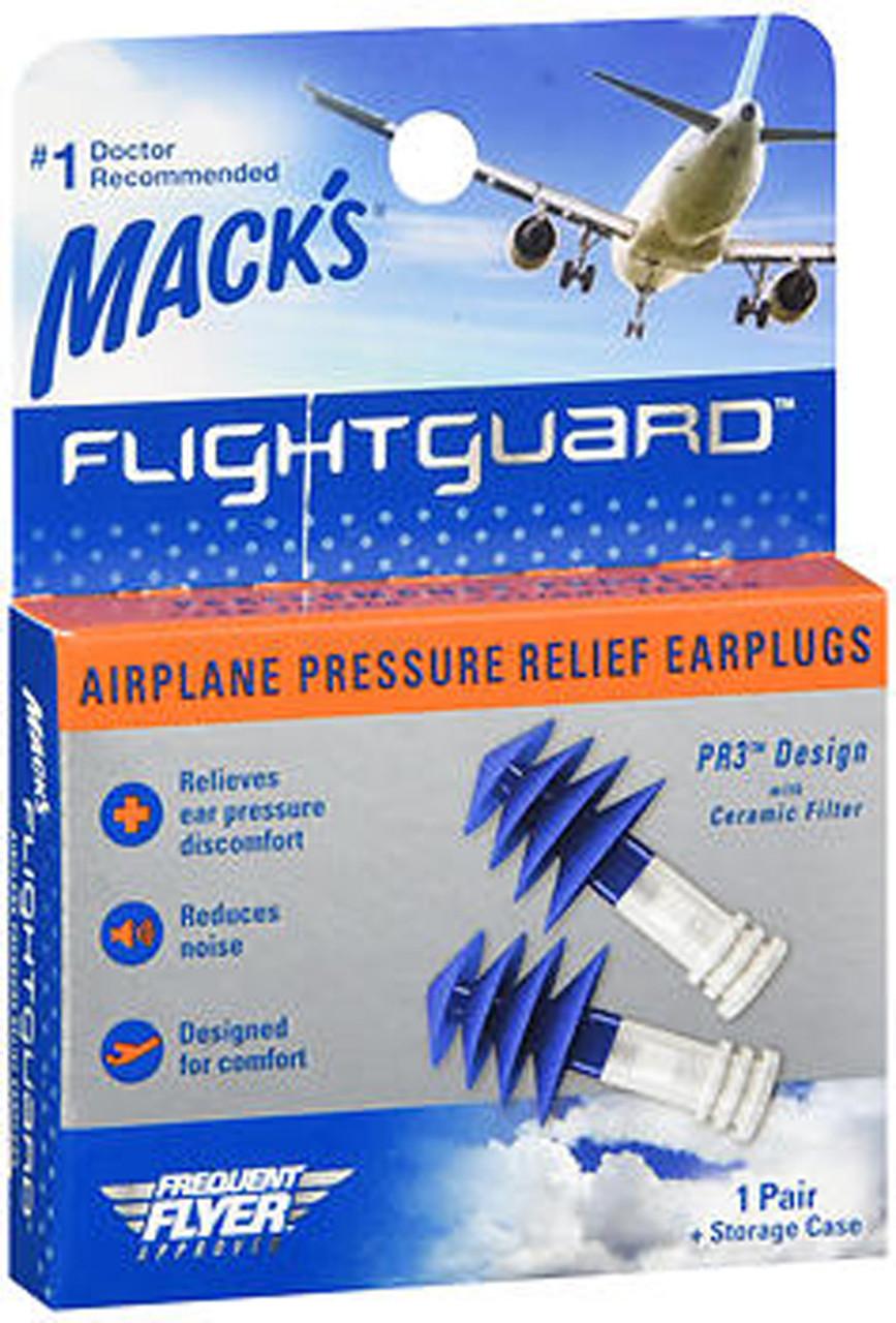 2 Pair Mack/'s Flightguard Airplane Pressure Relief Ear Discomfort Noise Plugs