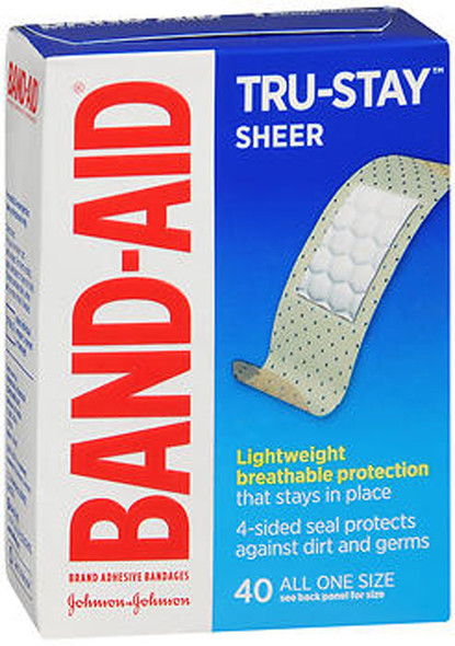 BAND-AID Sheer Strips Adhesive Bandages, All One Size 40 ea