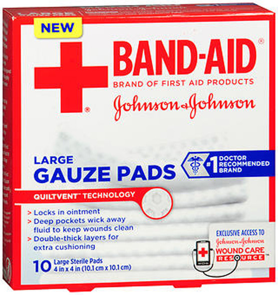 "Johnson & Johnson Red Cross First Aid Gauze Pads 4x4"" - 10 ct"