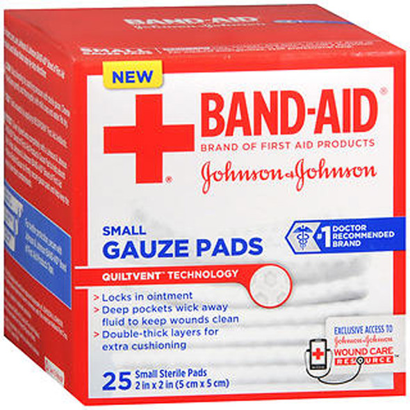 "Johnson & Johnson Red Cross Hospital Grade Gauze Pads  2""x2"" - 25 ct"