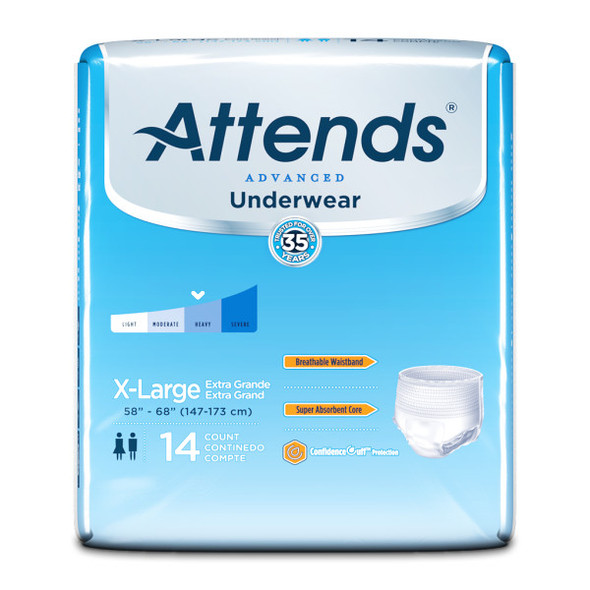Attends Underwear Super Plus Absorbency Extra Large - 4 pks of 14