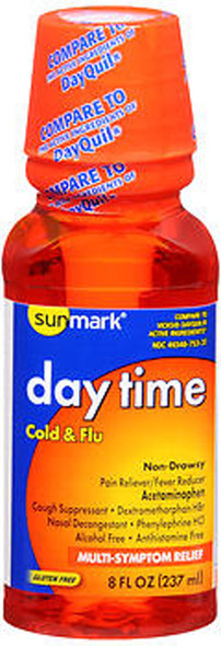 Sunmark Daytime Cold & Flu Liquid, Multi-Symptom Relief - 8 oz