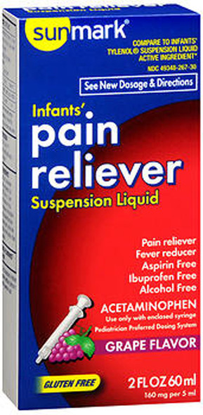 Sunmark Infants' Pain Reliever, Suspension Liquid, Grape Flavor - 2 oz