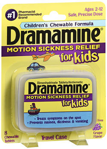 Dramamine for Kids Chewable Tablets Grape Flavor - 8 Tablets