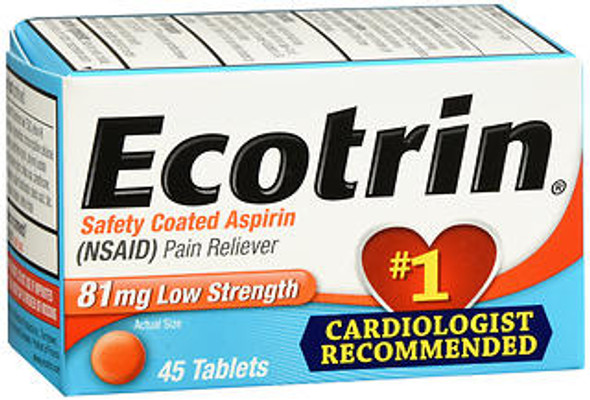 Ecotrin 81 mg Low Strength Aspirin Pain Reliever - 45 Tablets